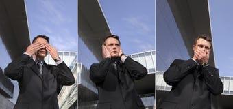 De bedrijfsmens ziet geen kwaad, hoort geen kwaad, spreekt geen kwaad, stedelijk Royalty-vrije Stock Afbeeldingen