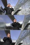 De bedrijfsmens ziet geen kwaad, hoort geen kwaad, spreekt geen kwade, stedelijke scène Stock Afbeelding
