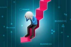 De bedrijfsmens zit op de analysepijl Stock Foto's