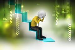 De bedrijfsmens zit op de analysepijl Stock Afbeelding