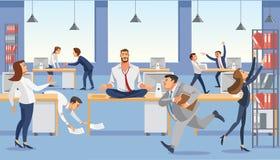 De bedrijfsmens zit op lijst in bureau Calp in meditatie ontspant Beklemtoonde vectorbeeldverhaalkarakters stock illustratie
