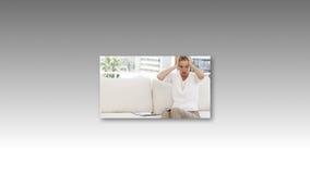 De bedrijfsmensen beklemtoonden in Bureau stock footage