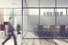 De bedrijfsmensen in bureau lobbyen, glasmuur Royalty-vrije Stock Foto