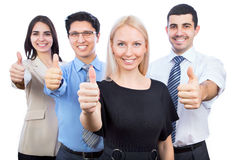 De bedrijfsmensen die duimen tonen ondertekenen omhoog Royalty-vrije Stock Afbeelding
