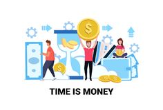 De bedrijfsmensen die het bankbiljet van het dollarmuntstuk houden bewaren van het de besparingsconcept van het tijdgeld de groei royalty-vrije illustratie