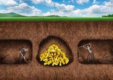 De bedrijfsmensen graven een tunnel aan schat Stock Foto