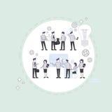 De bedrijfsmensen groeperen Brainstormingsproces Flip Chart Finance, Zakenlui Team Training Meeting Royalty-vrije Stock Afbeeldingen