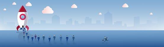 De bedrijfsmensen groeperen het Lopen aan het Concept van Ruimteschiprocket launch new stratup project royalty-vrije illustratie