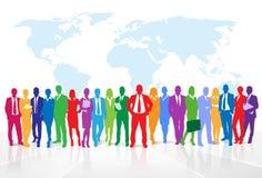 De bedrijfsmensen groeperen kleurrijk silhouetconcept Stock Foto's