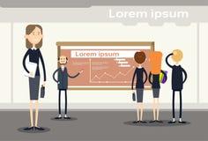 De bedrijfsmensen groeperen Presentatie Flip Chart Finance, Zakenlui Team Training Conference Meeting Stock Afbeeldingen