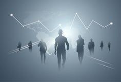 De bedrijfsmensen groeperen Silhouet Team Over Finance Graphic Background Royalty-vrije Stock Afbeelding