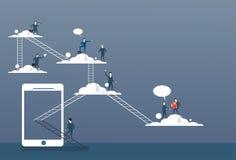 De bedrijfsmensen groeperen zich op Wolken, Collectieve de Gegevenstoegang van Internet van de Verbindingstechnologie Online royalty-vrije illustratie
