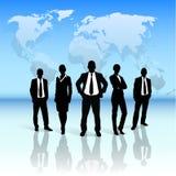 De bedrijfsmensen groeperen zwart silhouet over wereld vector illustratie
