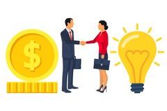 De bedrijfsmensen op de overeenkomst schudden handen, uitwisselingsgeld voor I Royalty-vrije Stock Afbeeldingen