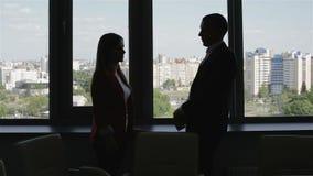 De bedrijfsmensen silhouetteren, man zich dichtbij venster bevinden en besprekingen die met vrouw stock video