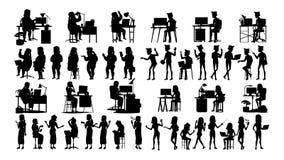 De bedrijfsmensen silhouetteren Vastgestelde Vector Mannetje, wijfje Het pictogram stelt Sociale Conferentie Leider Businesswomen vector illustratie