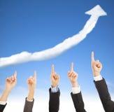 De bedrijfsmensen tonen de goede voorraad marketing situatie Stock Fotografie