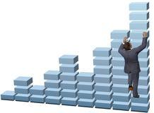 De bedrijfspersoon beklimt de groeigrafiek royalty-vrije illustratie