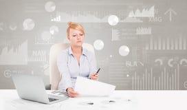 De bedrijfspersoonszitting bij bureau met rapport analyseert concept stock afbeeldingen