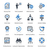 De bedrijfspictogrammen plaatsen 3 - Blauwe Reeks Stock Foto