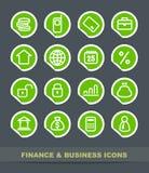 De bedrijfspictogrammen van financiën en vector illustratie