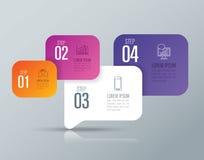 De bedrijfspictogrammen van het Infographicontwerp en met 4 opties Stock Foto