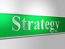 De bedrijfsstrategie vertegenwoordigt Oplossingenbedrijf en Biz Stock Foto