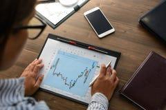 De bedrijfsvrouw bij werkplaats bij houten bureaulijst analyseert de gegevens, programma's, prijzen, maakt berekeningen op een ca Stock Foto's