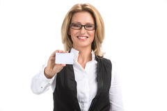 De bedrijfsvrouw isoleerde wit portret als achtergrond Stock Fotografie