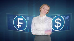 De bedrijfsvrouw maakt financiële analyse van de aanrakingsschermen dollar Zwitser, Frank stock footage