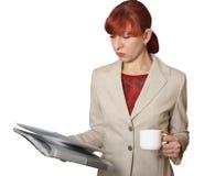 De bedrijfsvrouw met documenten stock foto's