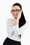 De bedrijfsvrouw met een gelukkige glimlach op zijn gezicht, geniet van een successf Stock Foto's