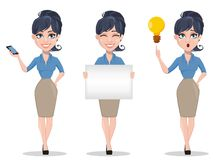 De bedrijfsvrouw, reeks van drie stelt Stock Afbeeldingen