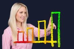 De bedrijfsvrouw toont een grafische kromme Royalty-vrije Stock Afbeelding