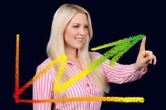De bedrijfsvrouw toont een grafische kromme Stock Afbeeldingen