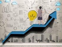 De bedrijfsvrouwenhand schrijft nieuwe ideeën met innovatie