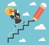 De bedrijfsvrouwenholding beklimt omhoog van een collectieve ladder van succes stock illustratie