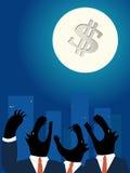 De bedrijfswolven die van de binnenstad bij de volle maan holwing Royalty-vrije Stock Afbeeldingen