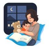 De bedtijdmoeder vertelt verhaal met haar zoon bij nacht, Vector Stock Afbeeldingen