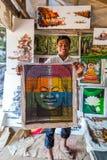 De beelden Boedha, Siem van de kunstenaarstekening oogsten, Kambodja Stock Foto