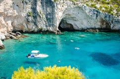 De beelden die van de de zomervakantie van Zakynthos voor een vakantie op het eiland inspireren Stock Afbeeldingen