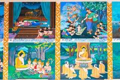 De beelden op de muur beschrijven levend van Boedha Royalty-vrije Stock Afbeeldingen
