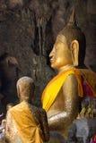 De beelden van Boedha in het Hol van Khao Luang, Phetchaburi-provincie, Thailand Stock Foto