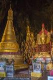 De Beelden van Boedha in Pindaya Hol - Pindaya - Myanmar Stock Afbeeldingen