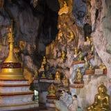 De Beelden van Boedha in Pindaya-Hol - Pindaya - Myanmar Stock Afbeelding
