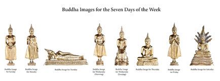 De Beelden van Boedha voor de Zeven Dagen royalty-vrije stock foto