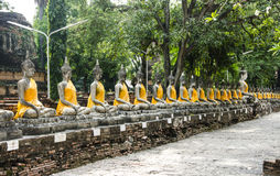De beelden van Buddhas in Wat Yai Chai Mongkol, Ayutthaya royalty-vrije stock foto's