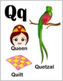 De beelden van de alfabetbrief Q stock illustratie