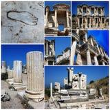 De beelden van de Ephesuscollage van ephesusarchitectuur Stock Fotografie