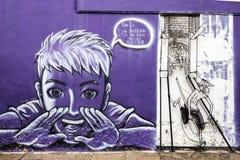 De beelden van Georgetown Maleisië op een muur penang Stock Foto